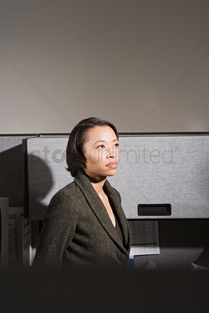 Interior : Businesswoman stood in office