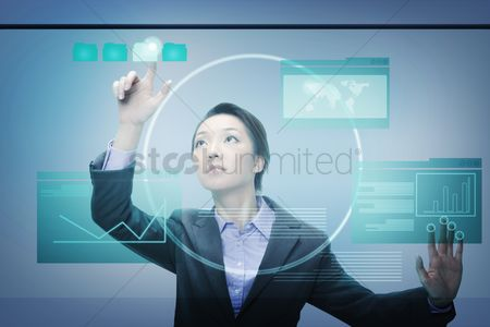 Asian : Businesswoman using digital screen