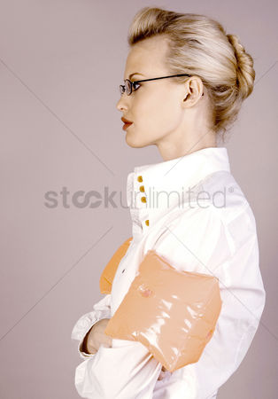 Bespectacled : Businesswoman wearing water wings