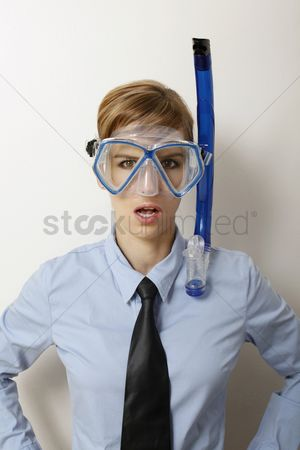 Diving : Businesswoman with diving mask
