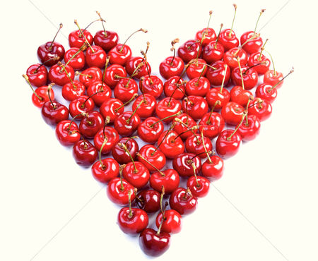 Love : Cherries on white background - heart shape