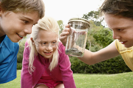 Hobby : Children looking at snake in jar