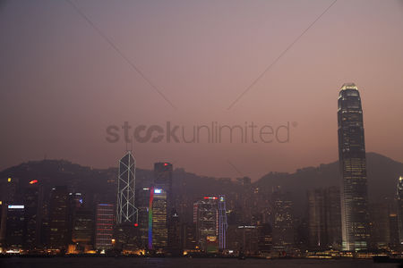 China : China hong kong skyline at sunset