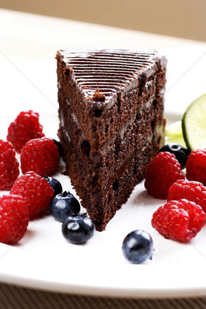 Ready to eat : Chocolate cake and berries on a plate