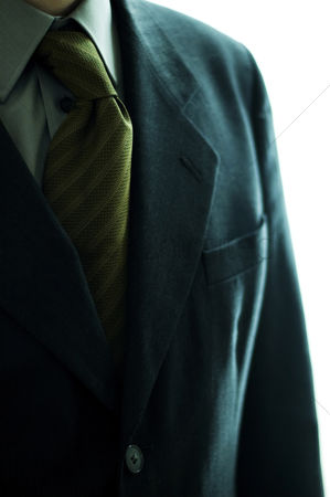 Man suit fashion : Close-up of a blue coat with striped tie
