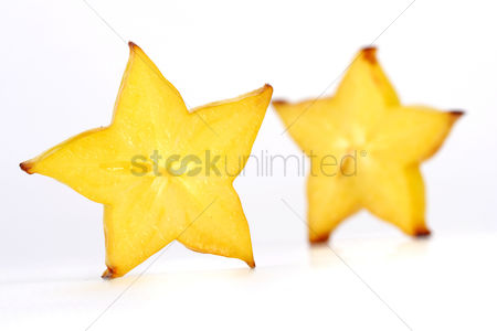 Refreshment : Close-up of carambola on white background