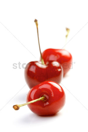 Organic : Close up of cherrys on white background