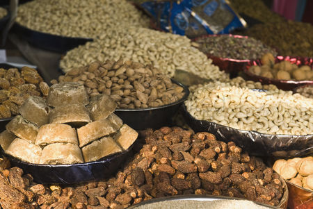 Collection : Close-up of dry fruits at a market stall  delhi  india