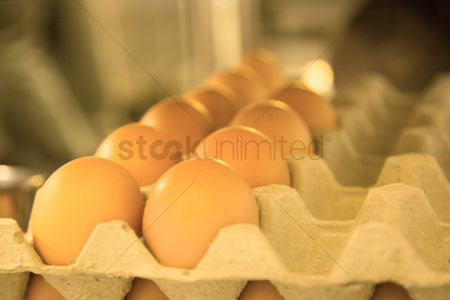 Egg tray : Close up of eggs in paper egg tray
