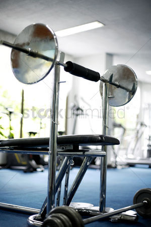 Adulthood : Close up of equipments in gym