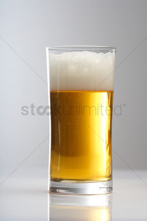 Refreshment : Close up of glass of beer