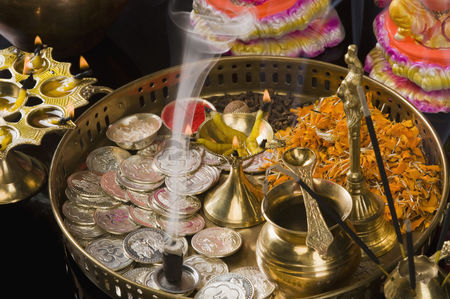 Diwali : Close-up of religious offerings in a diwali pooja thali