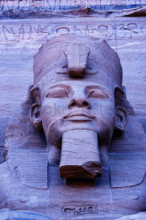 Attraction : Close up of sculpture on great temple of ramses ii abu simbel unesco world heritage site egypt
