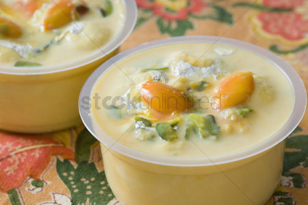 Almond : Close-up of sweet food in two cups