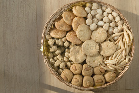 Almond : Close-up of sweets and cookies in a wicker basket