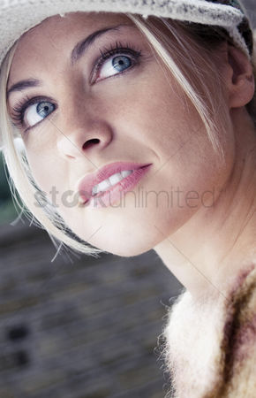 Cheerful : Close-up on a woman s face