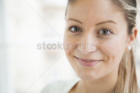 Czech republic : Close-up portrait of beautiful young woman smiling