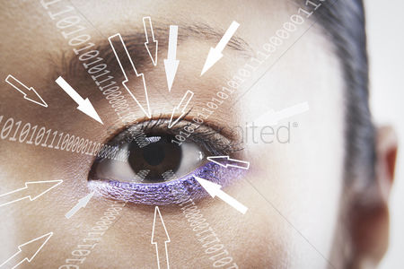 Technology background : Close-up portrait of businesswoman with binary digits and arrow signs moving towards his eye