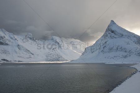 Cloud : Coastal landscape on moskensoy in the loftofen archipelago norway