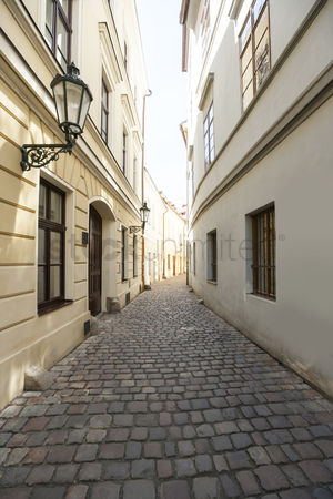 Czech republic : Cobbled alleyway of old city  prague  czech republic