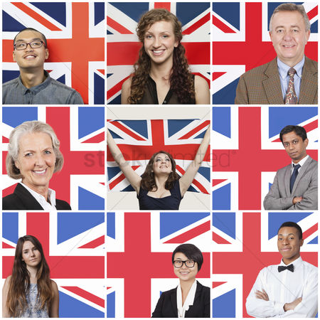 British ethnicity : Collage of business people standing against british flag