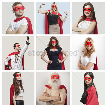 Smiling : Collage of confident people wearing superhero costumes