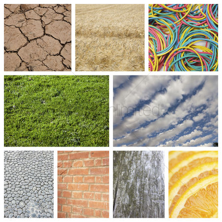 Grass background : Collage of nature with brick wall and rubber bands