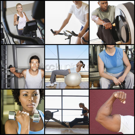Dumbbell : Collage of people exercising in gym