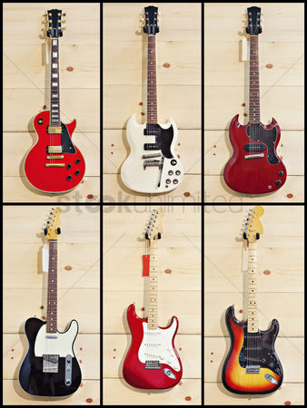 Collection : Collage of various guitars