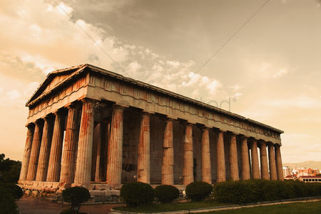 Moody : Colonnade of an ancient temple  parthenon  acropolis  athens  greece