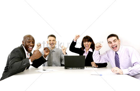 Sales person : Corporate people jubilating
