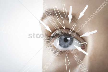 Businesswomen : Cropped image of businesswoman with binary digits and arrow signs moving towards her eye against white background