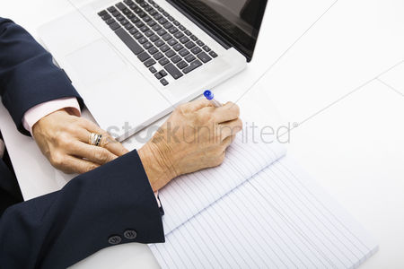 Notebook : Cropped image of businesswoman with laptop writing in notebook on office desk