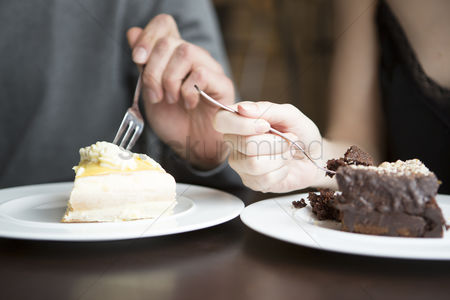 Czech republic : Cropped image of couple having pastries