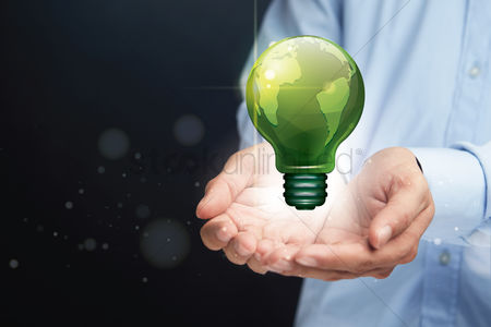 Earth  graphic vector : Cupped hands presenting eco friendly light bulb concept
