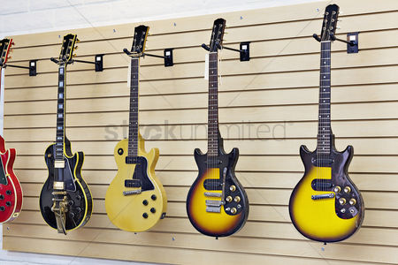 Collection : Display of guitars in a guitar store