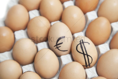Egg tray : Dollar and euro sign on eggs surrounded by plain brown eggs in carton