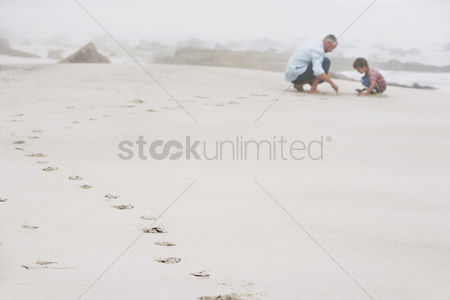 Mature : Father and son  5-6  playing on beach