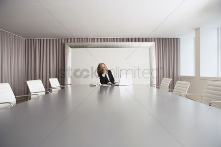 Spacious : Female business executive sitting in boardroom using laptop