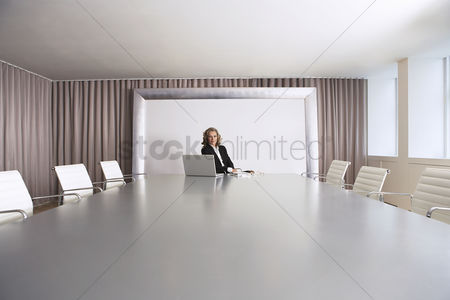 Spacious : Female business executive sitting in boardroom with laptop