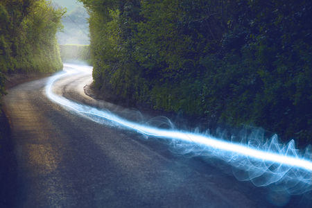 England : Fiber optic cable running above ground in the british countryside