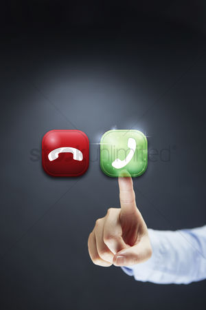 Answering calls : Finger pointing at calling icon