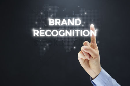 Show : Finger pointing at digital text brand recognition