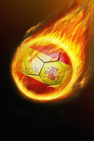 Nationality : Flaming spain soccer ball