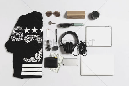 Accessories : Flat lay of men clothing and accessories