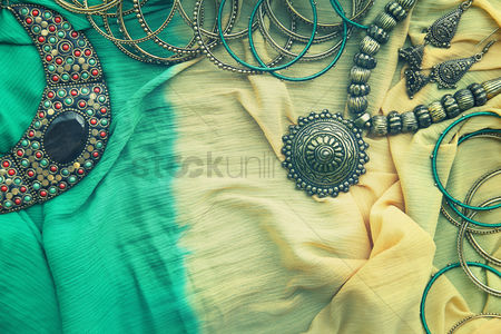 Traditional clothing : Flat lay of woman fashion accessories