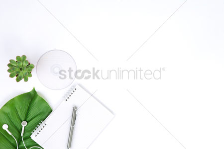 Blank : Flatlay of white background with notepad and leaf