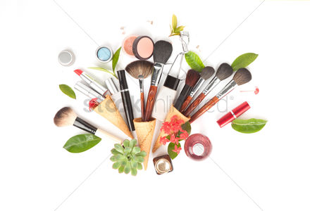 Flat : Flatlay with white background and makeup accessories