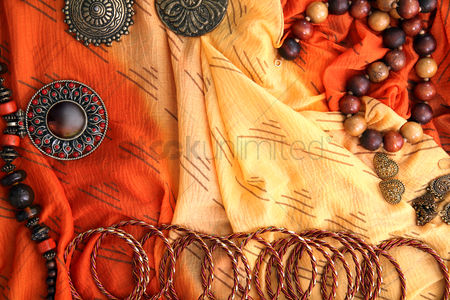 Traditional clothing : Flay lay of woman fashion accessories