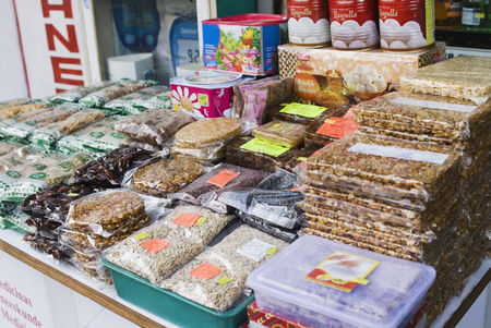 Almond : Food stall in a street market  new delhi  india